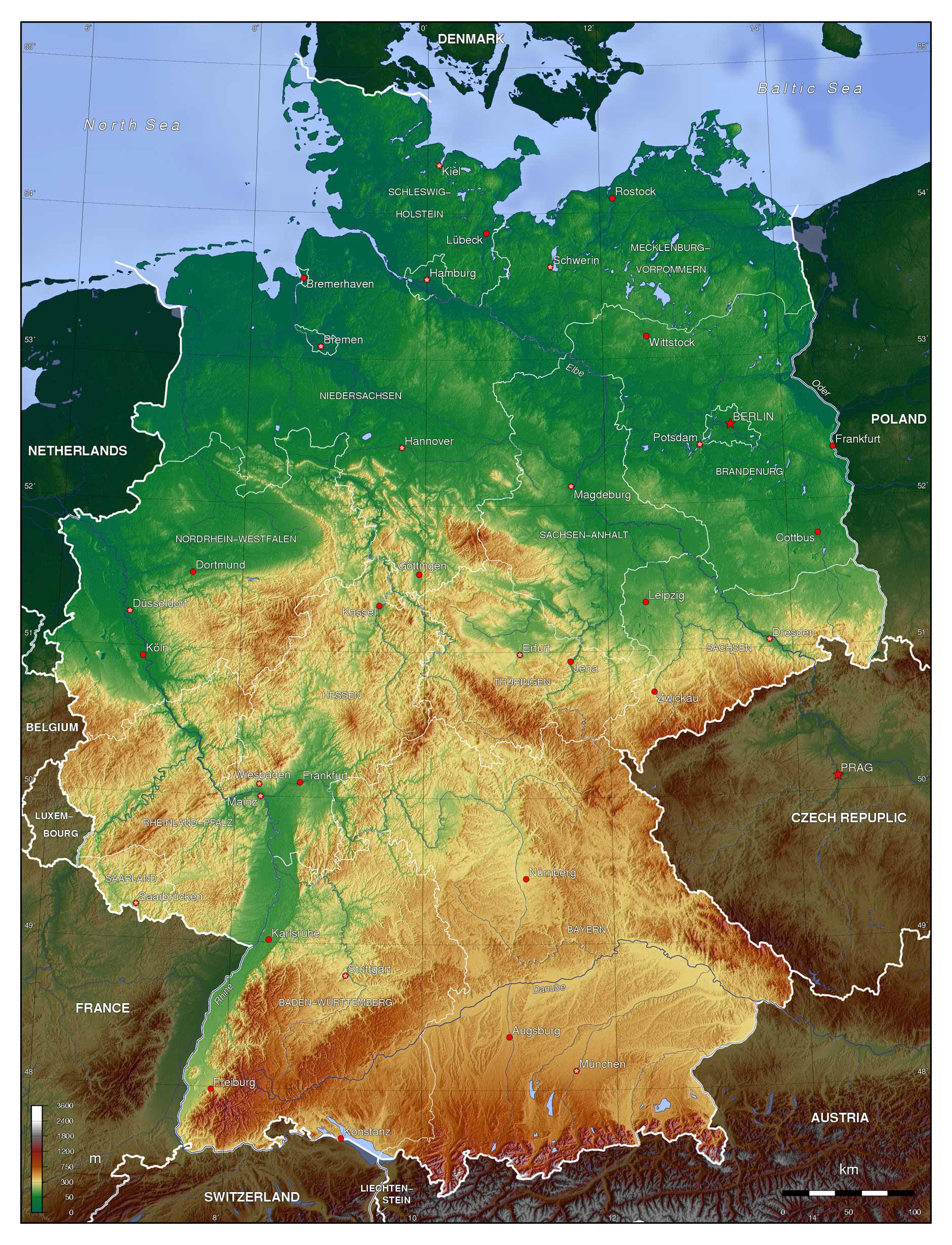 Large Detailed Physical Map Of Germany Germany Europe - Germany physical map