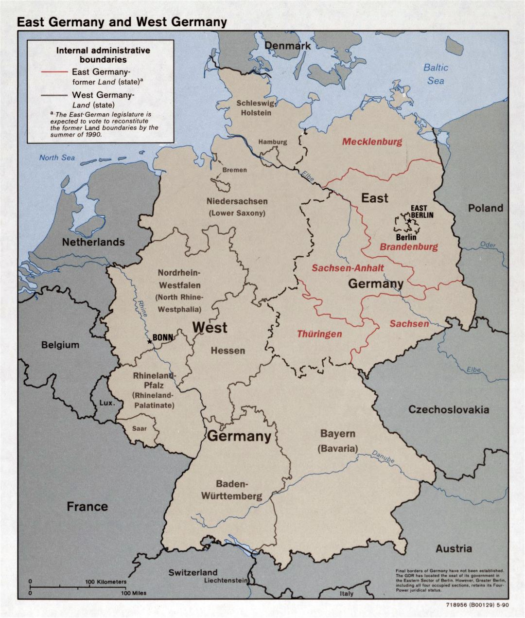 Large detailed political and administrative map of East Germany and West Germany - 1990