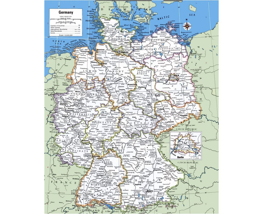 large detailed political and administrative map of germany with cities