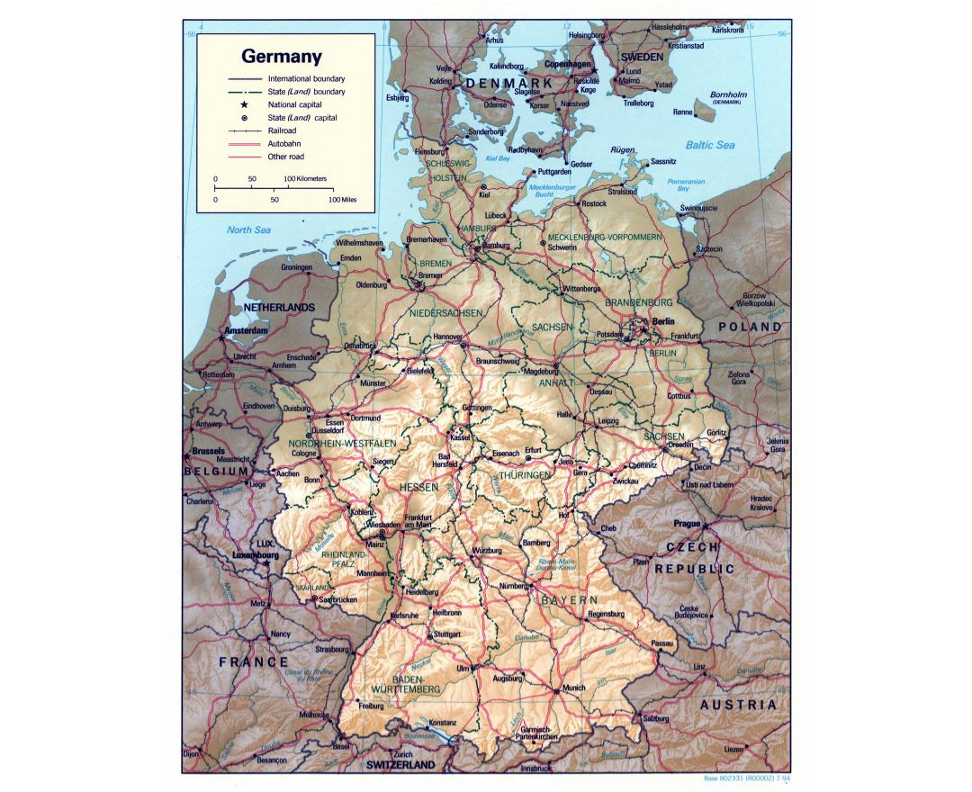 Large detailed political and administrative map of Germany with relief, roads and major cities - 1994