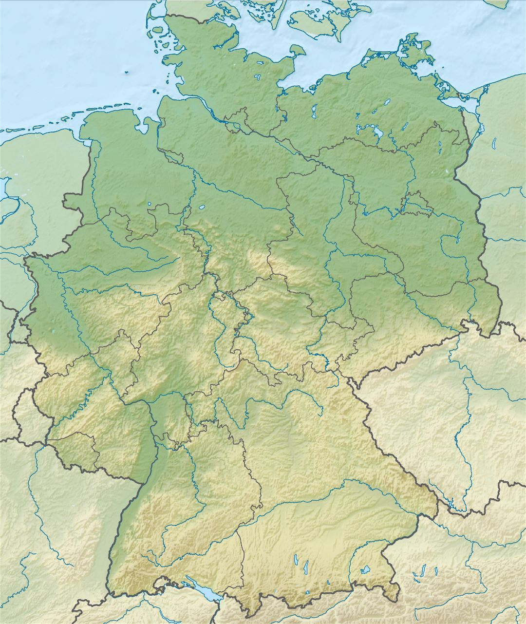 Large detailed relief map of Germany