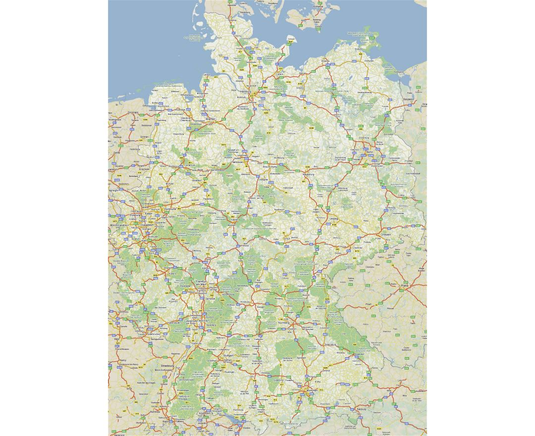 large detailed road map of germany with cities
