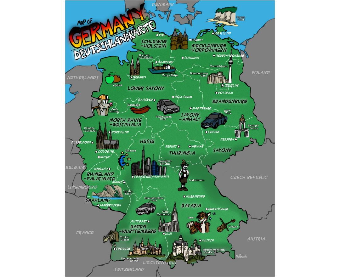 Large illustrated map of Germany