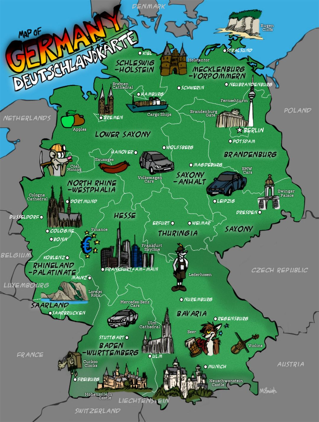 Large illustrated map of Germany Germany