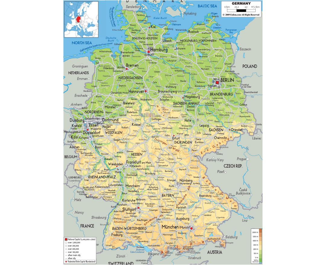 Large physical map of Germany with roads, cities and airports
