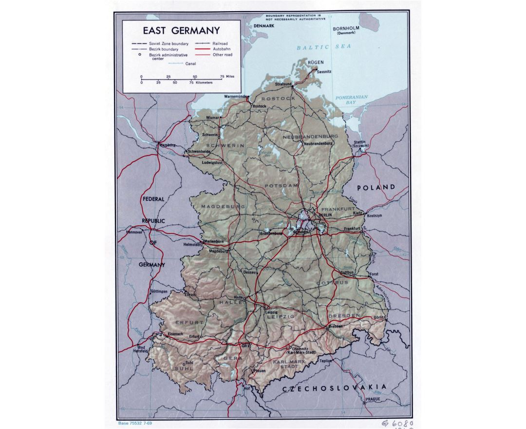 Large political and administrative map of East Germany with relief, roads, railroads and major cities - 1969