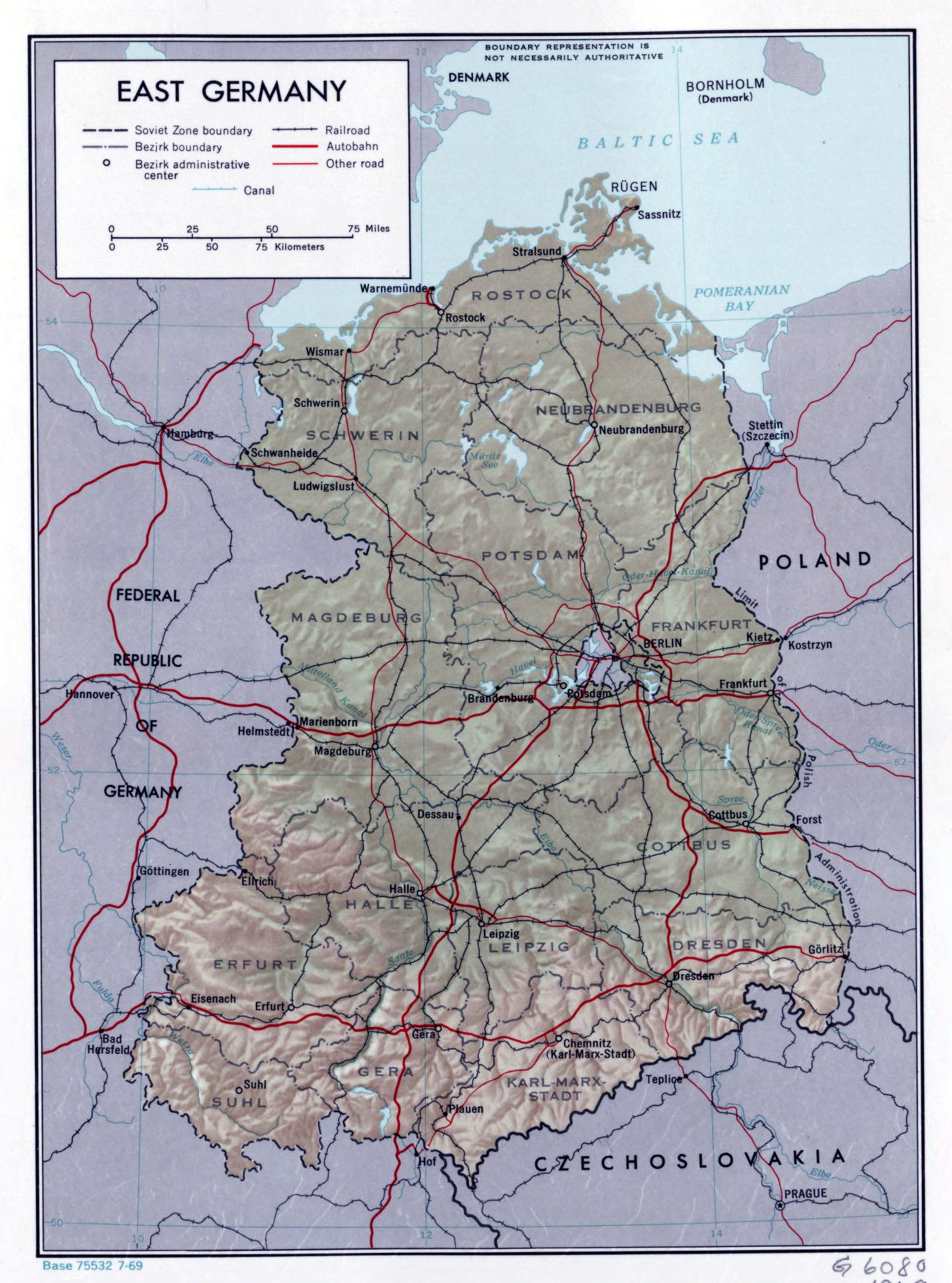 Large political and administrative map of East Germany with relief ...