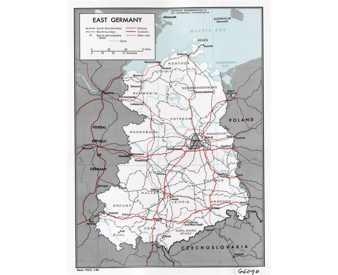 Large political and administrative map of East Germany with roads, railroads and major cities - 1969