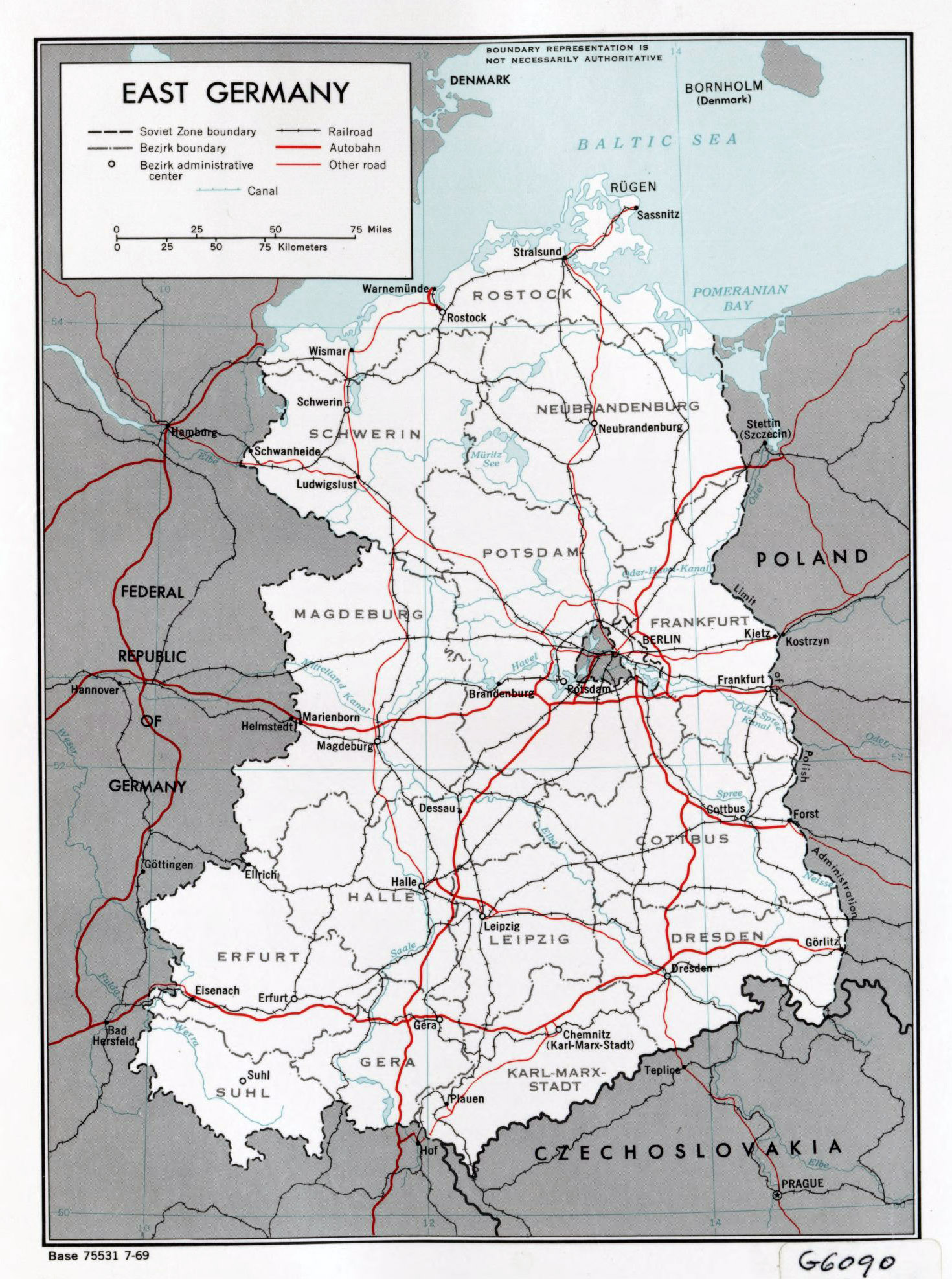 Large political and administrative map of East Germany with roads