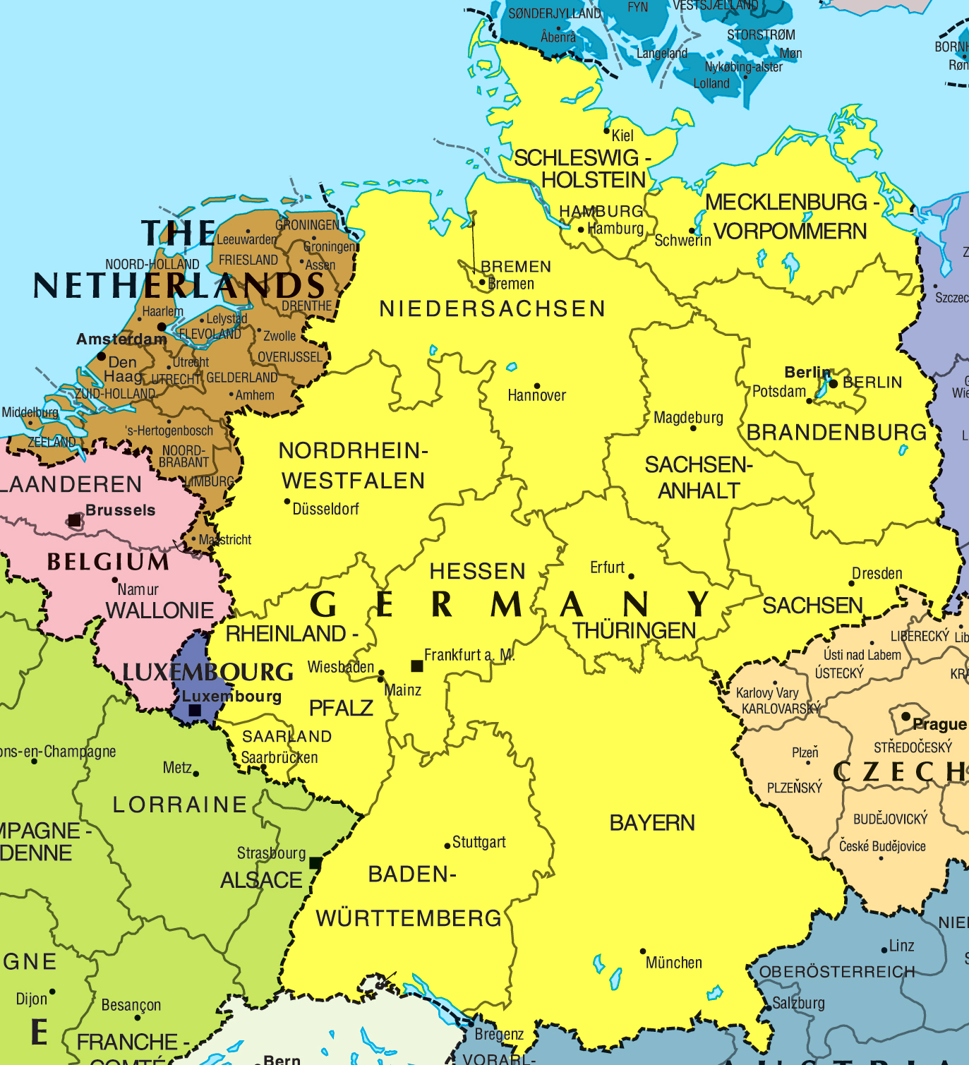 large political and administrative map of germany and netherlands