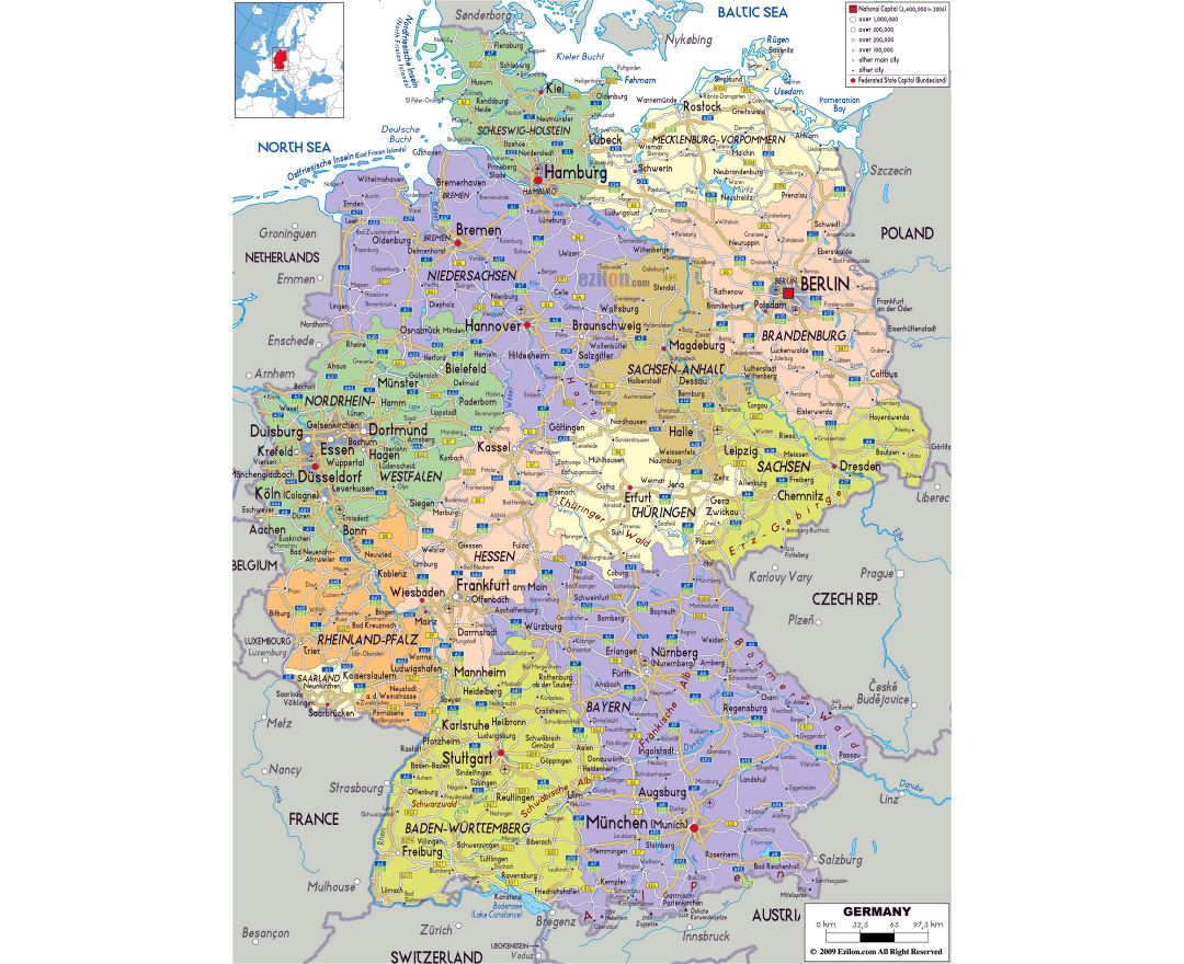 Maps of Germany Detailed map of Germany in English Tourist map