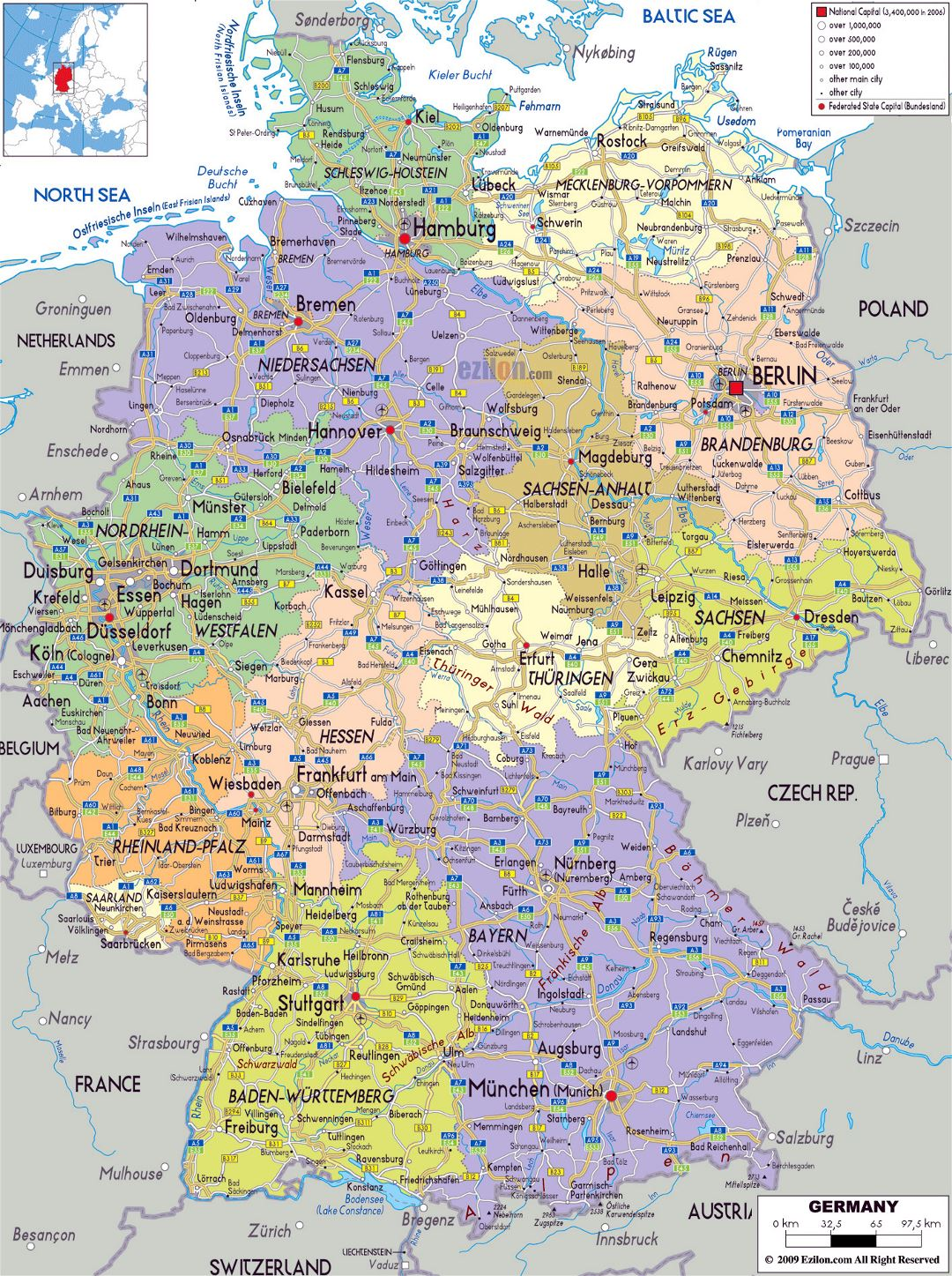 Large political and administrative map of Germany with roads, cities and airports