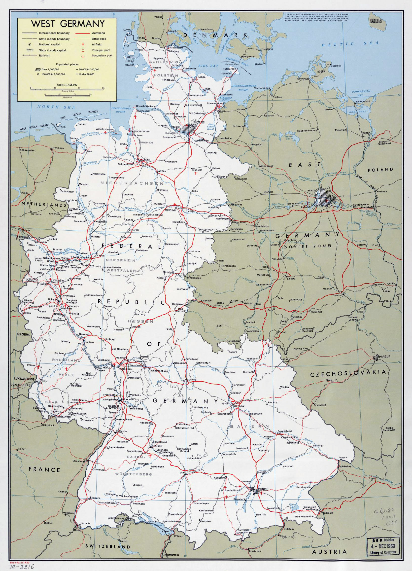 Large political and administrative map of West Germany with roads