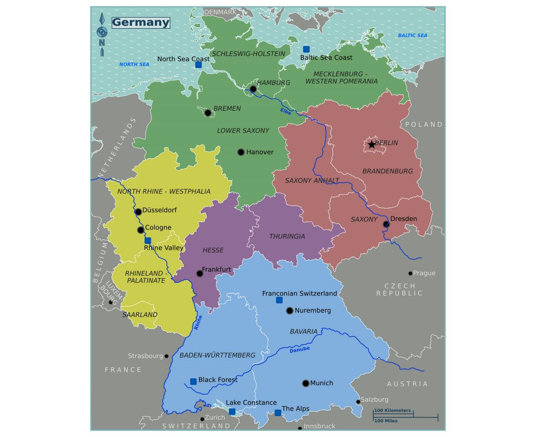 Map Of Germany With Regions.Maps Of Germany Collection Of Maps Of Germany Europe Mapsland