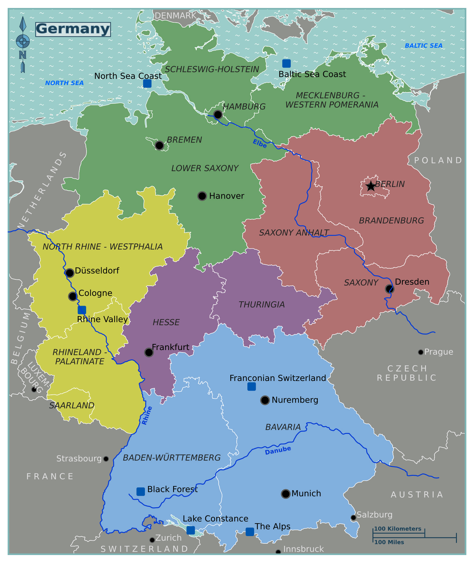 Large regions map of Germany Germany Europe Mapsland – Map of German Regions