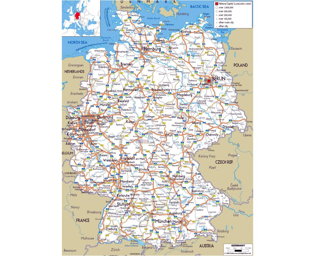 Large road map of Germany with cities and airports