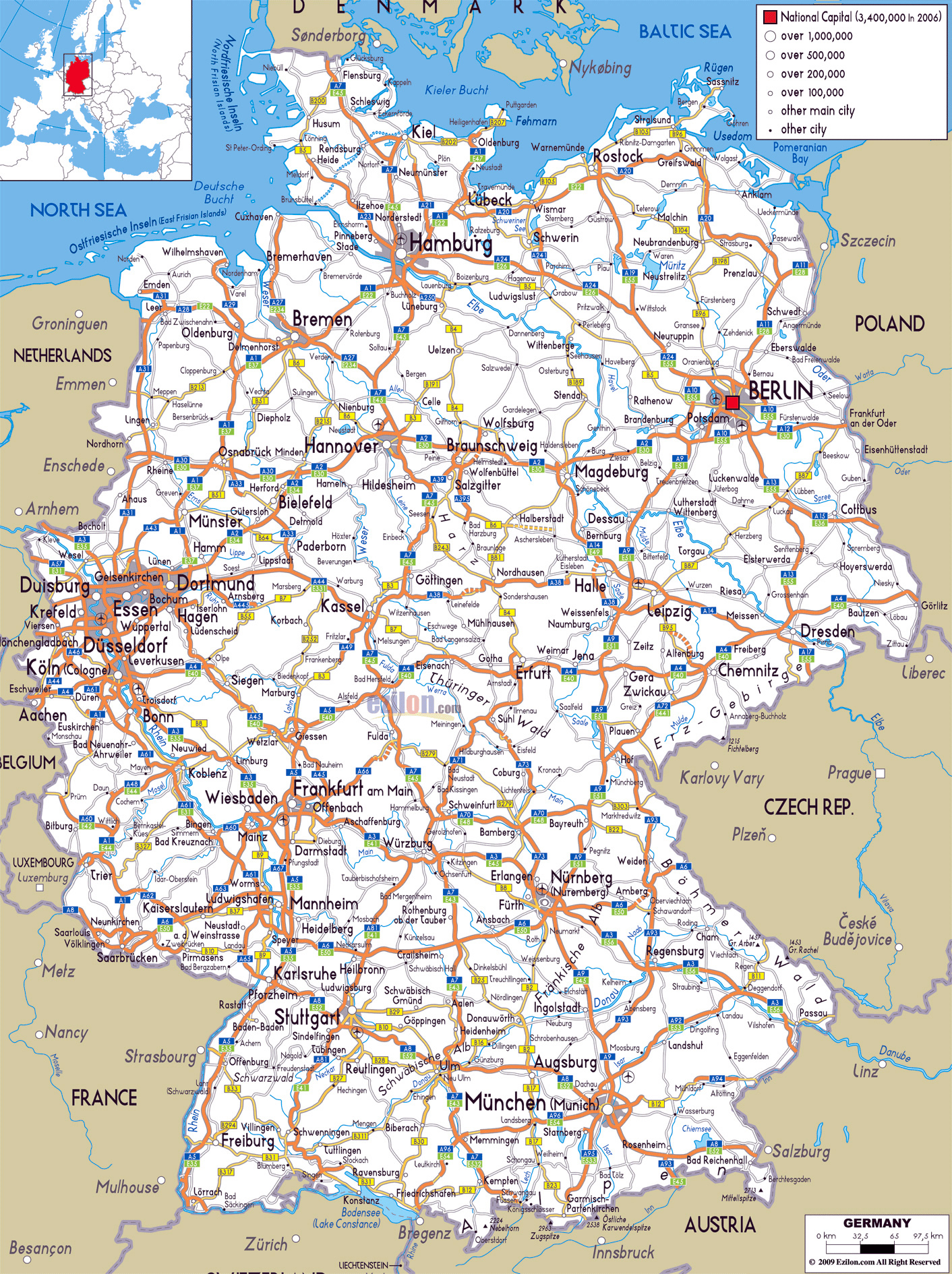 Large Road Map Of Germany With Cities And Airports Germany - Germany map and cities