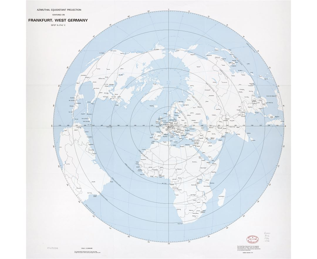Large scale detail azimuthal equidistant projection map - centered on Frankfurt, West Germany - 1986