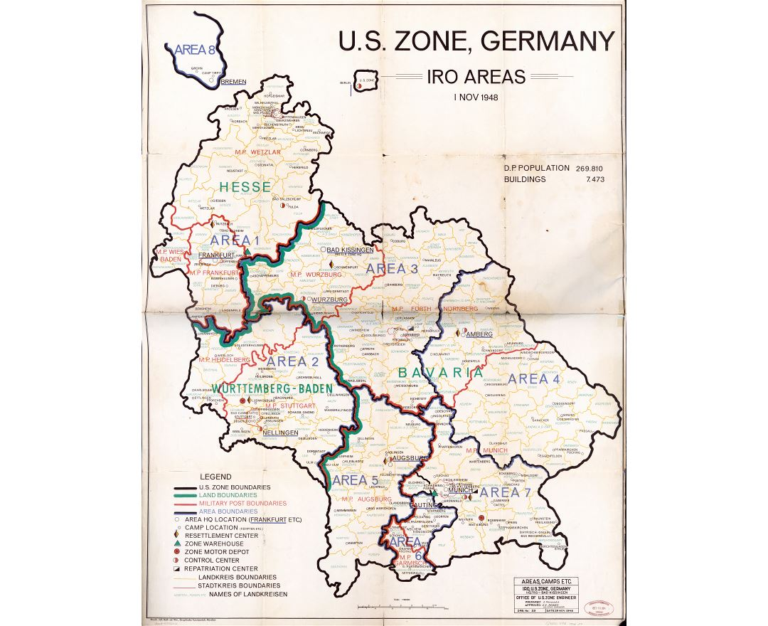 Large scale detailed U.S. zone, Germany IRO areas map - 1 November 1948