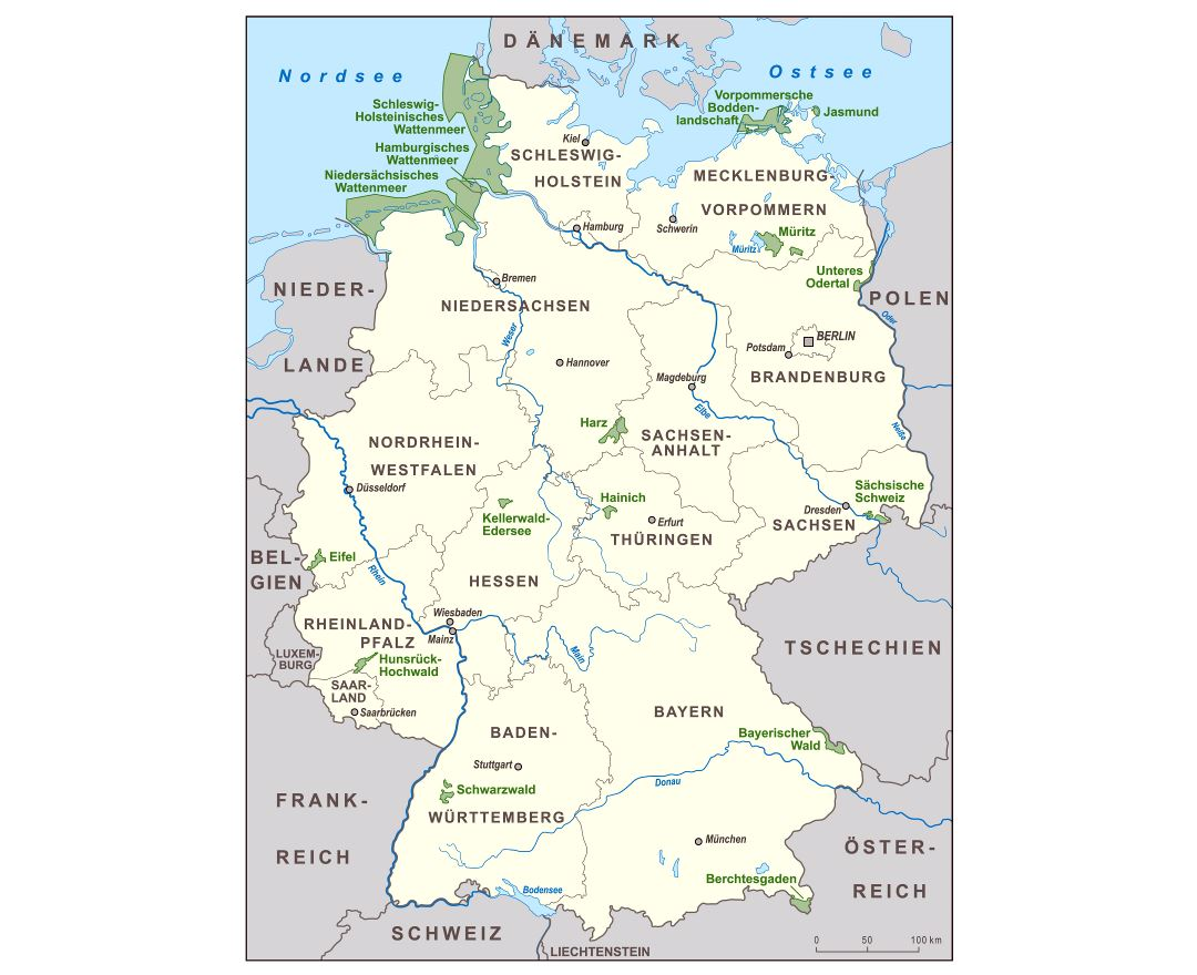 Large scale national parks map of Germany