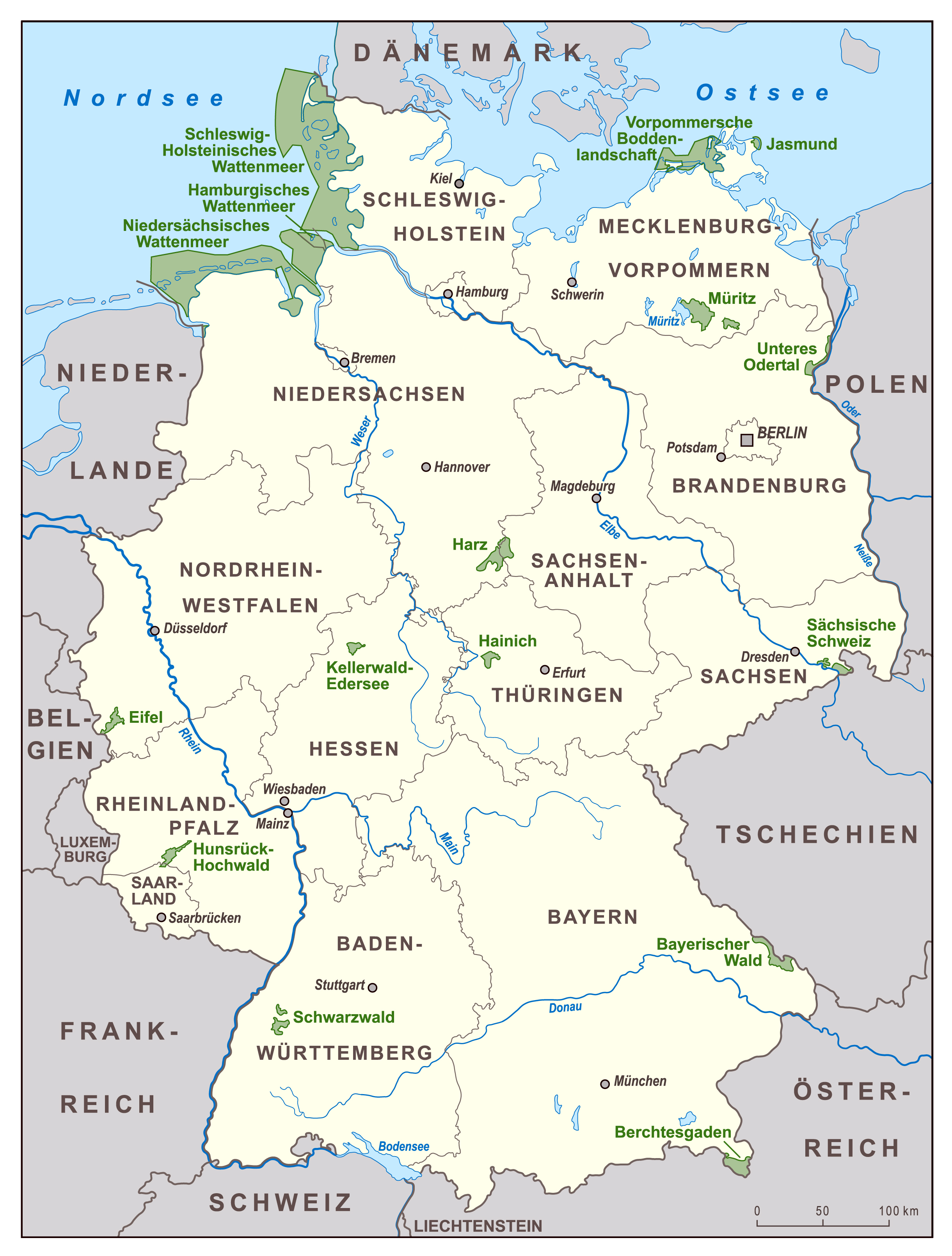Large scale national parks map of Germany Germany Europe