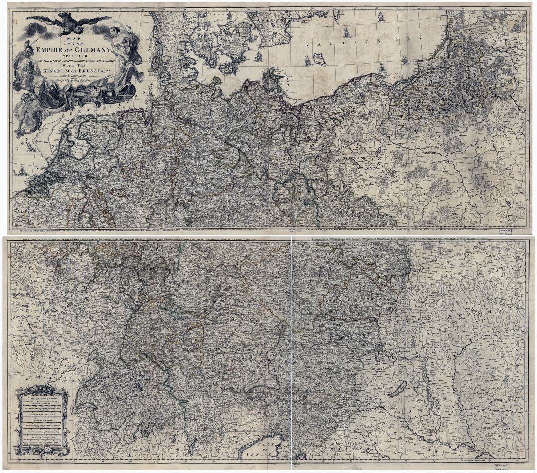 Large scale old map of the Empire of Germany - 1782