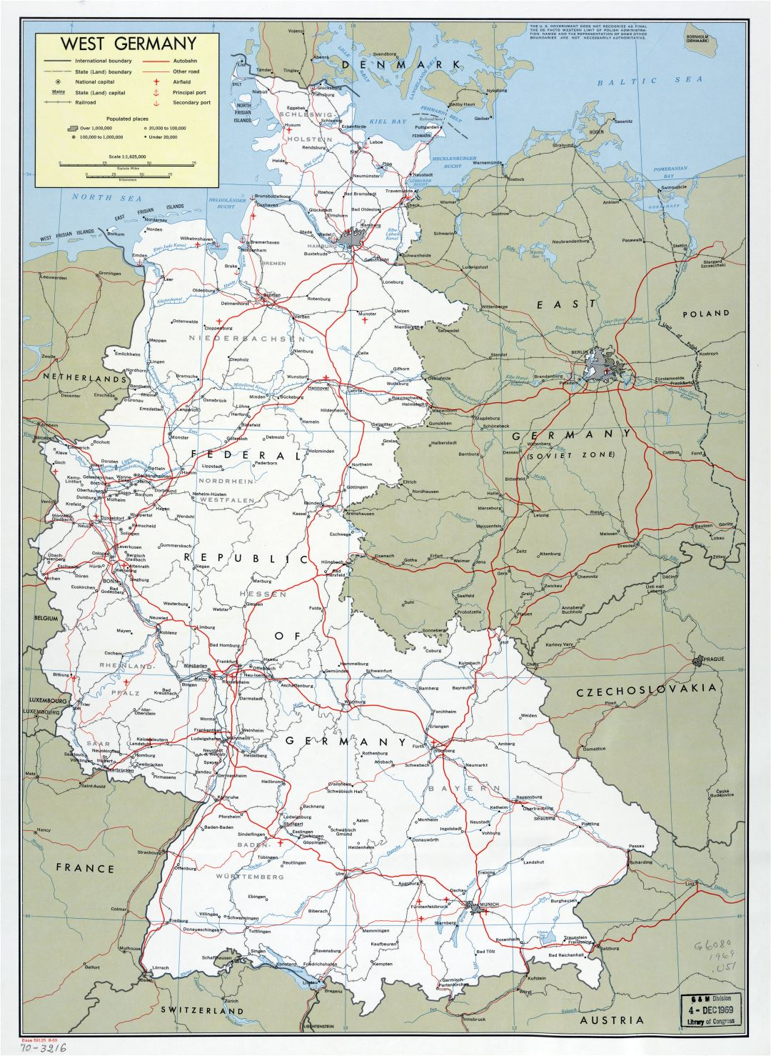 Large scale political and administrative map of West Germany with marks of cities, roads, railroads, airfield and seaports - 1969