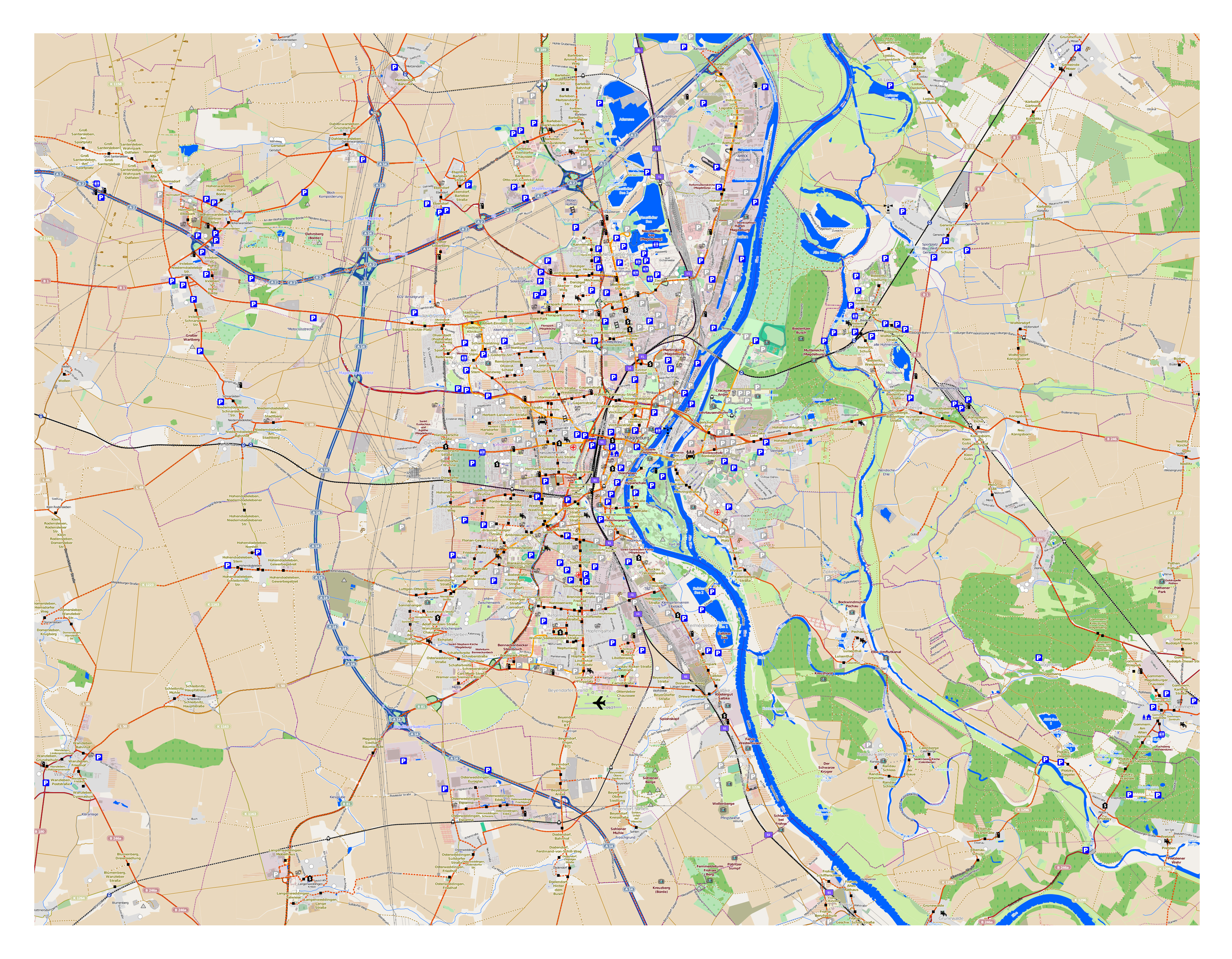Large Detailed Map Of Magdeburg City And Its Surroundings