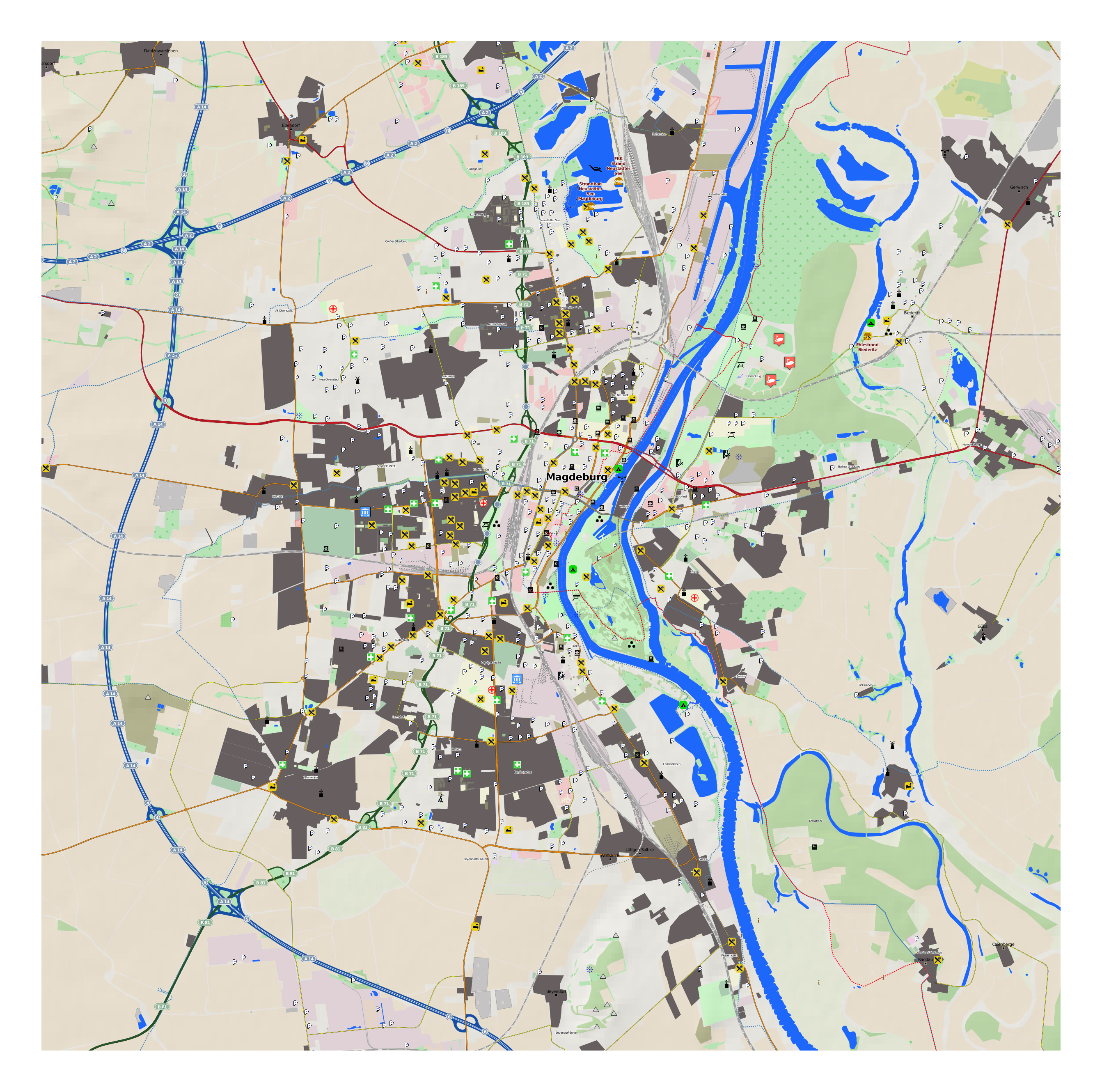 Large Detailed Map Of Magdeburg With Other Marks Magdeburg