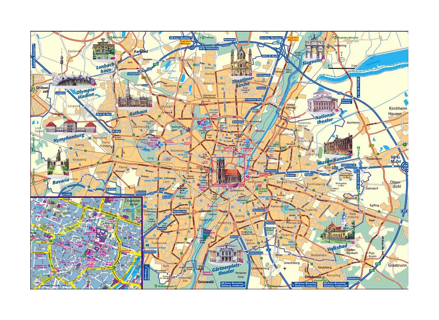 Detailed tourist map of Munich city | Munich | Germany | Europe ...