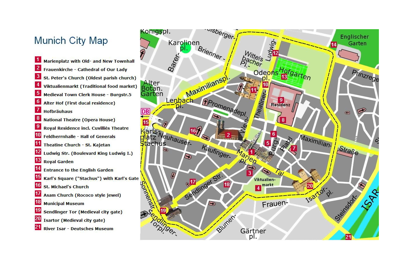 Detailed Travel Map Of Central Part Of Munich City Munich