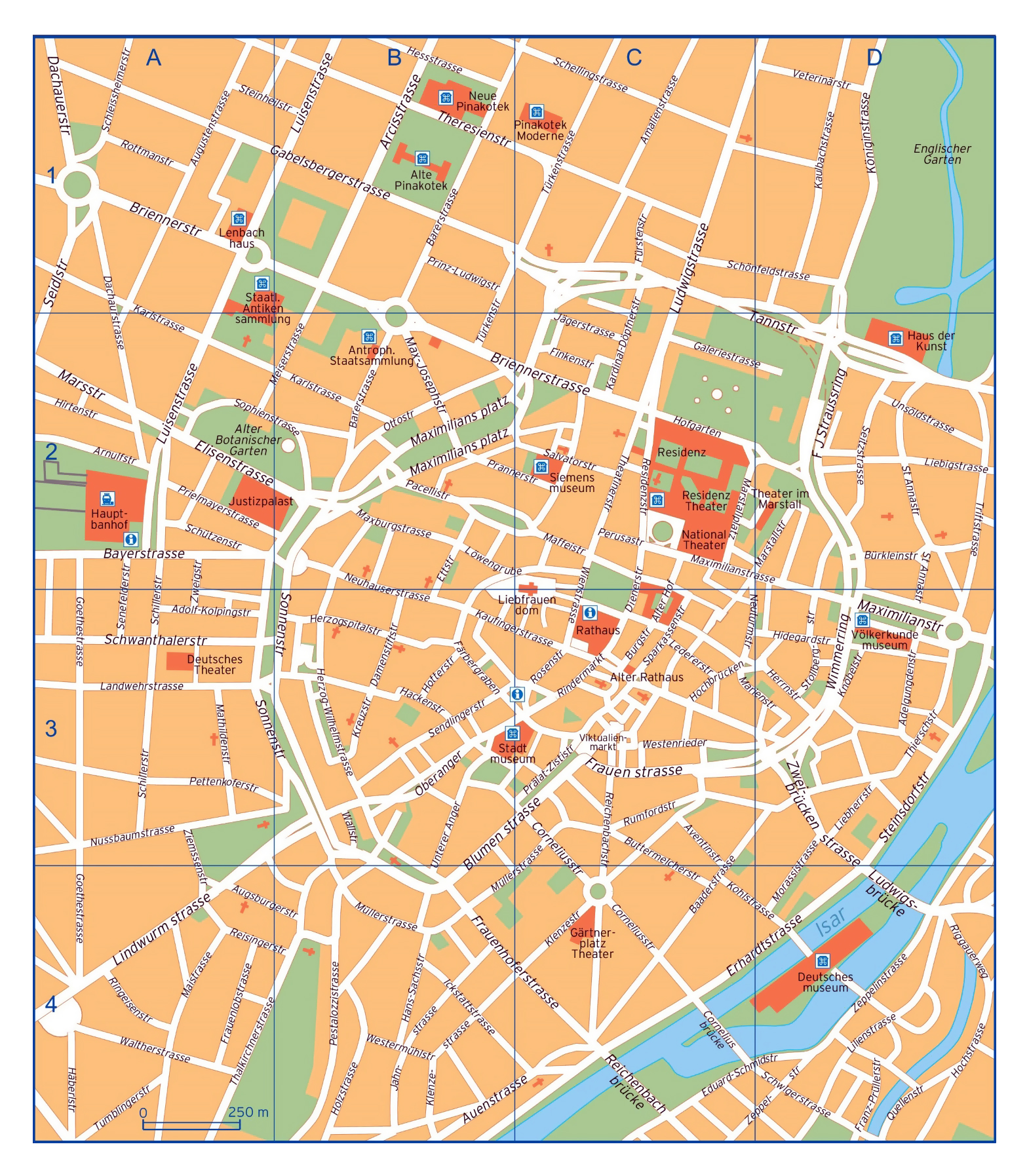Large Detailed Map Of Central Part Of Munich City With Street Names