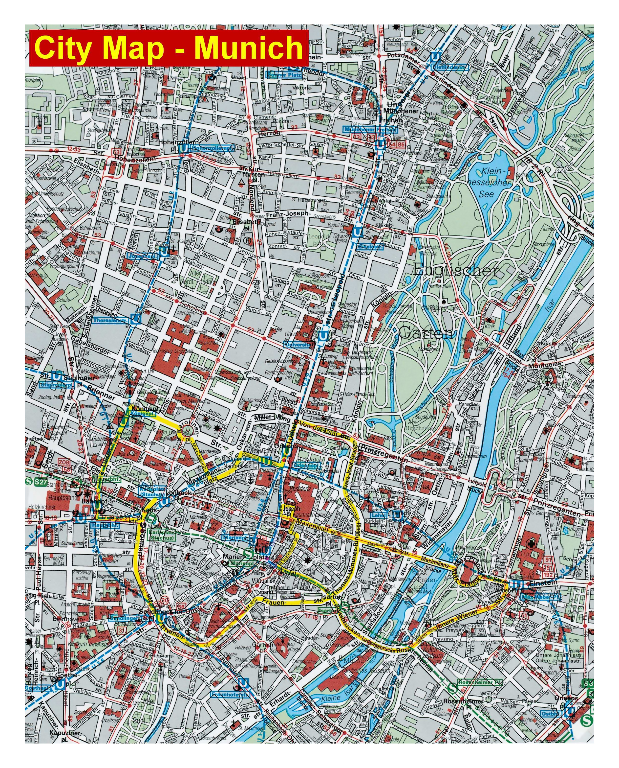 Map Of Central Germany.Large Detailed Street Map Of Central Part Of Munich City Munich