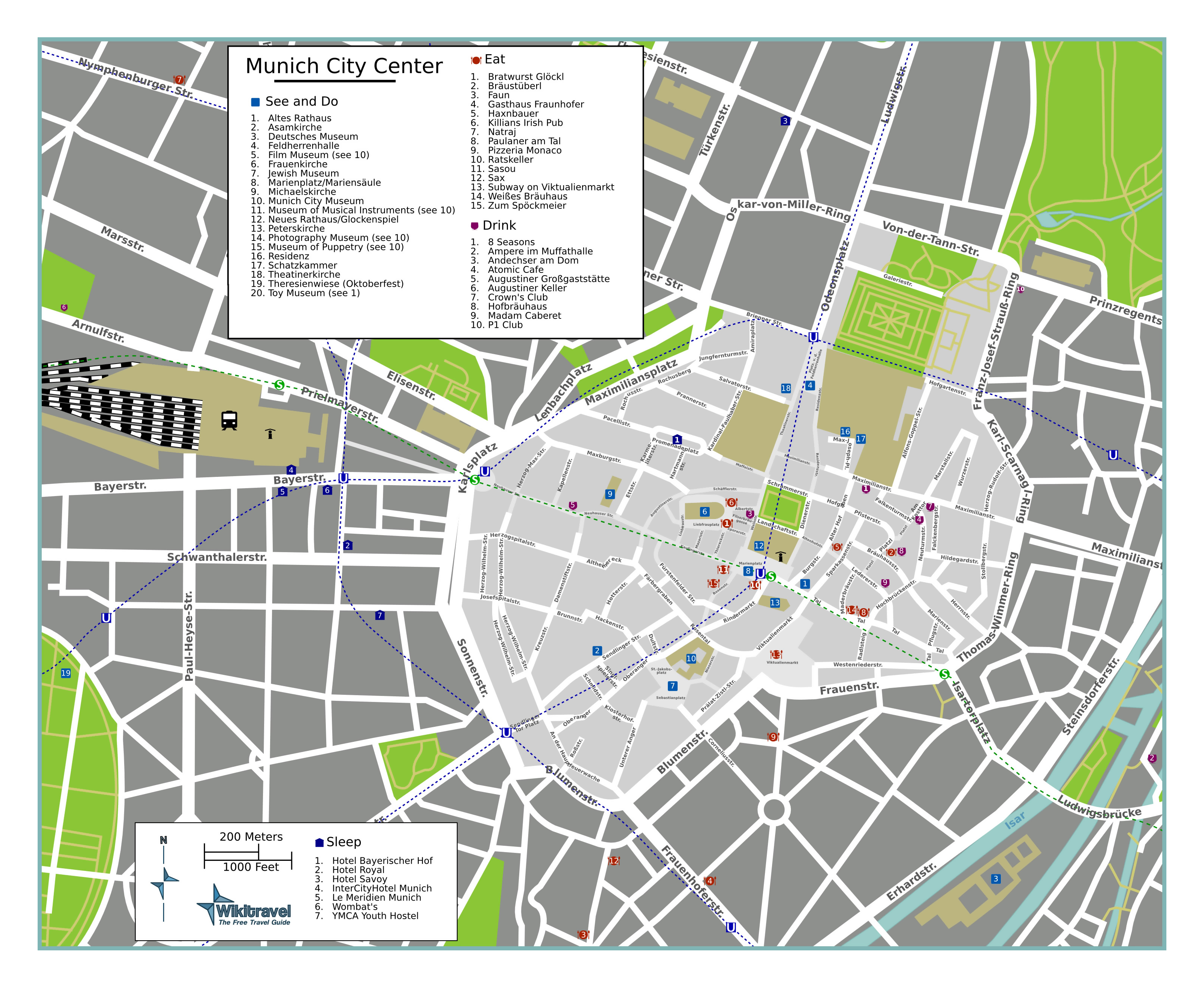 Large detailed tourist map of Munich city center | Munich ...