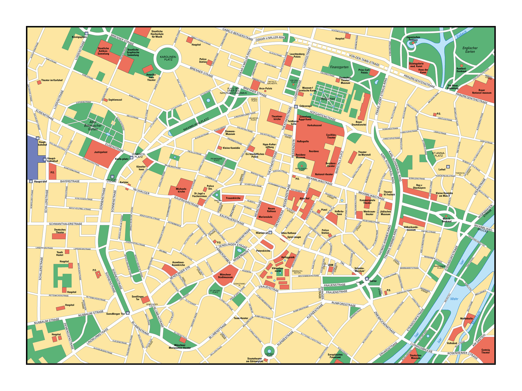Large Street Map Of Central Part Of Munich City Munich Germany