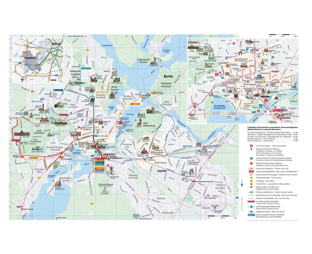Maps of Potsdam | Detailed map of Potsdam in English | Tourist map ...