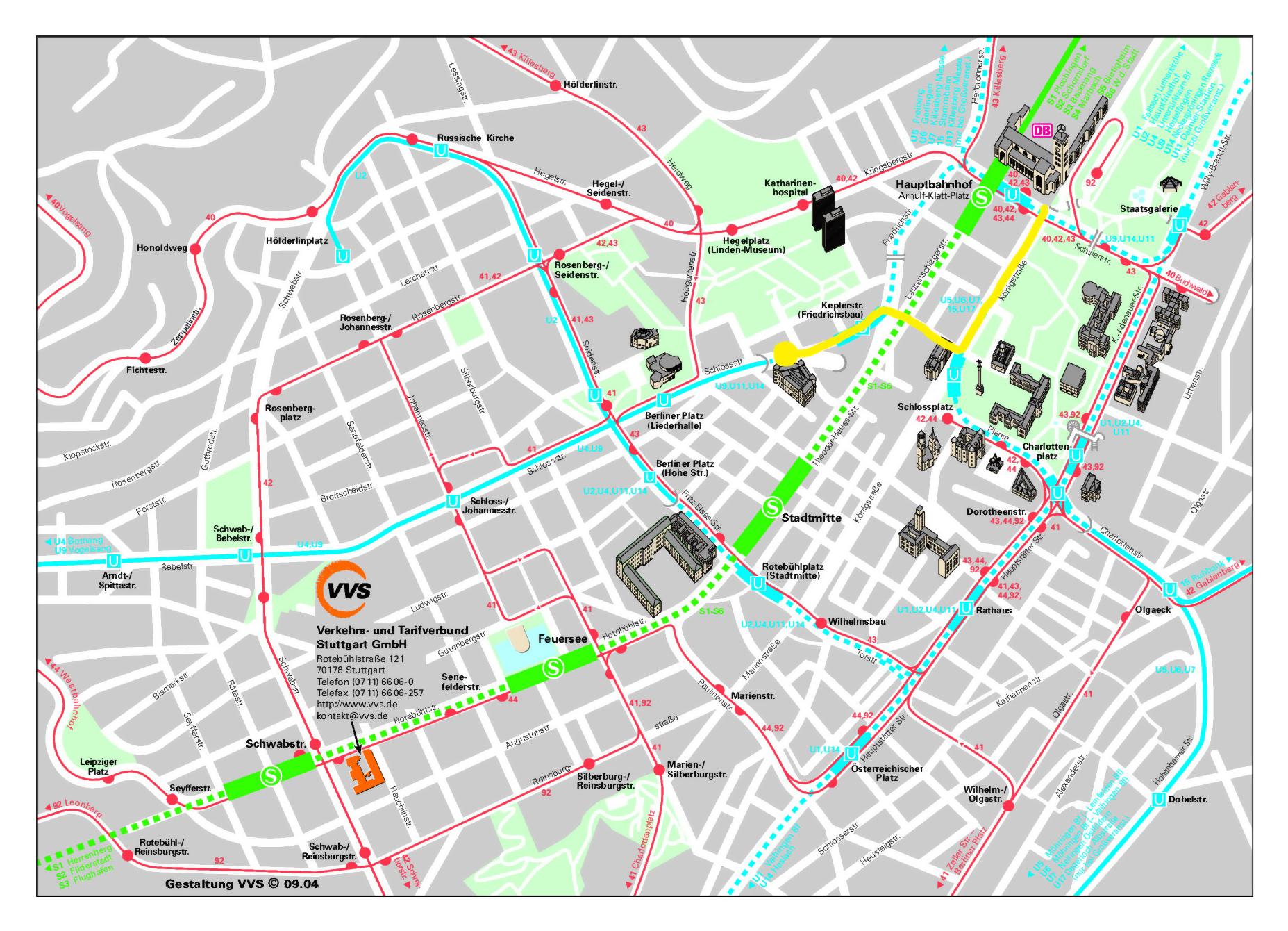 Stuttgart Map Of Germany.Detailed Street Map Of Central Part Of Stuttgart City Stuttgart