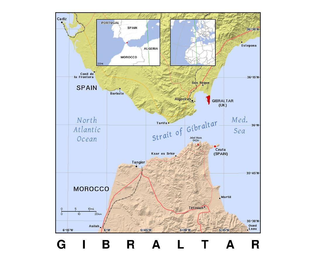 Detailed political map of Gibraltar with relief