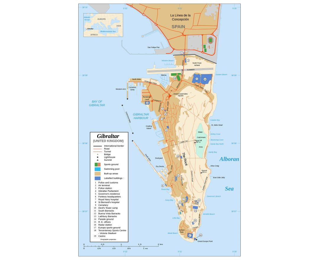 Large detailed map of Gibraltar with buildings