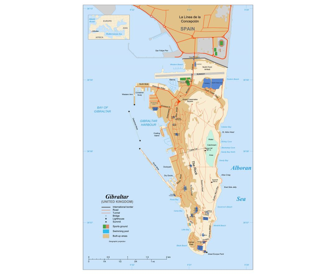 Large detailed map of Gibraltar with roads