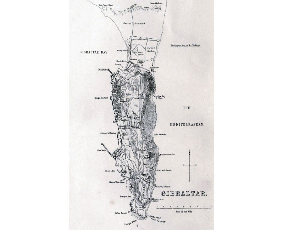 Large detailed old map of Gibraltar with relief - 1873