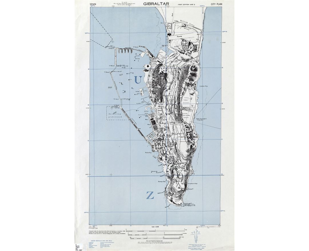 Large detailed topographic map of Gibraltar with buildings