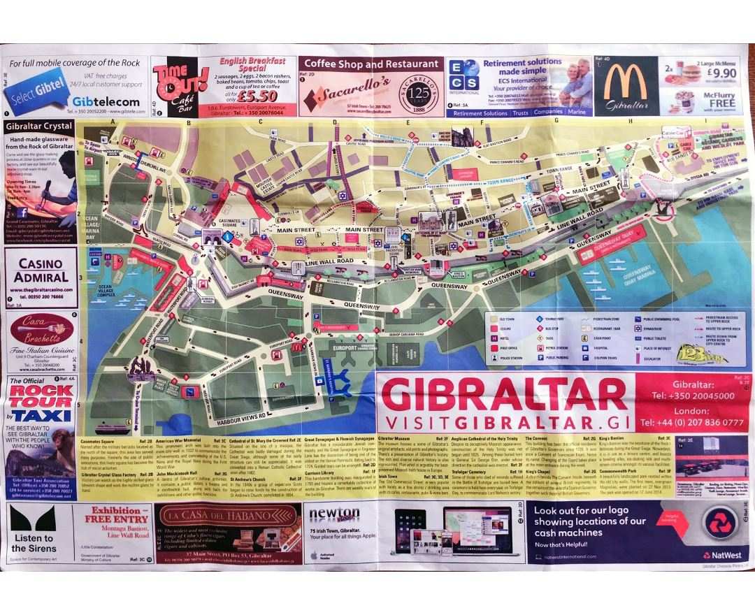 Large detailed tourist map of Gibraltar city