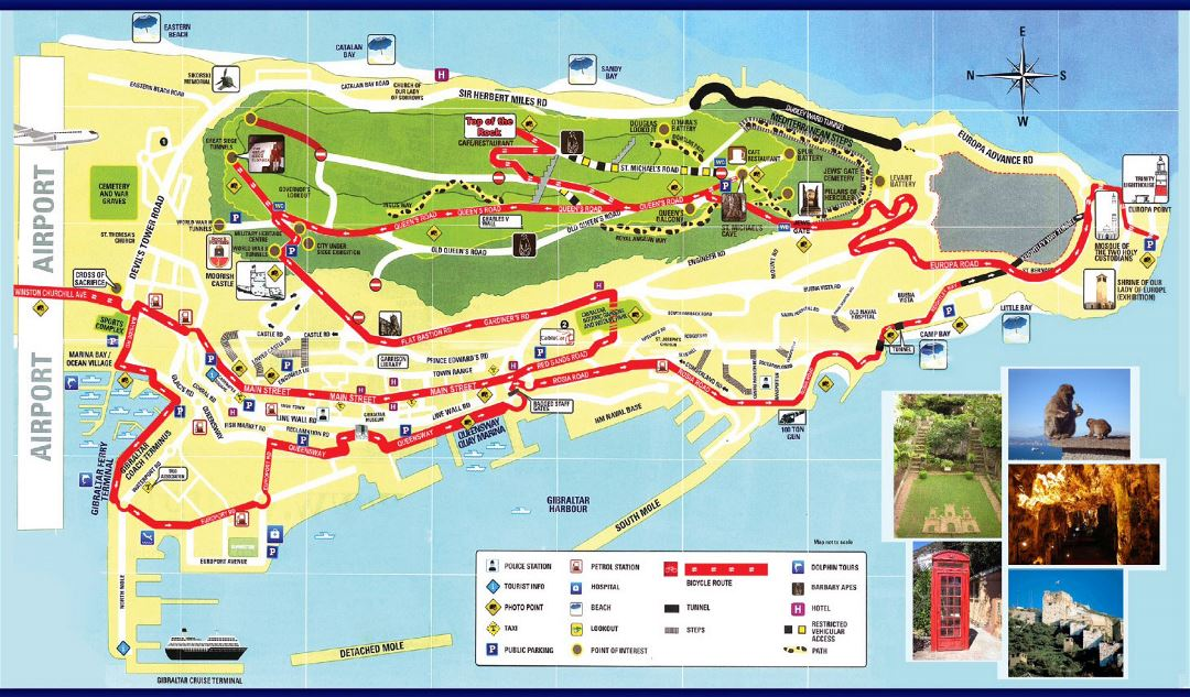 Large detailed tourist map of Gibraltar