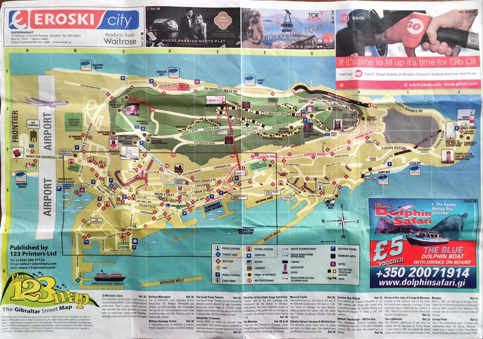 Large detailed travel map of Gibraltar Gibraltar Europe