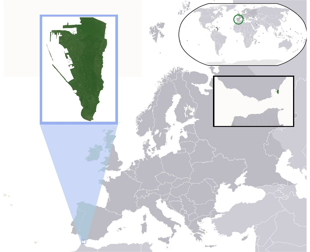 Large location map of Gibraltar