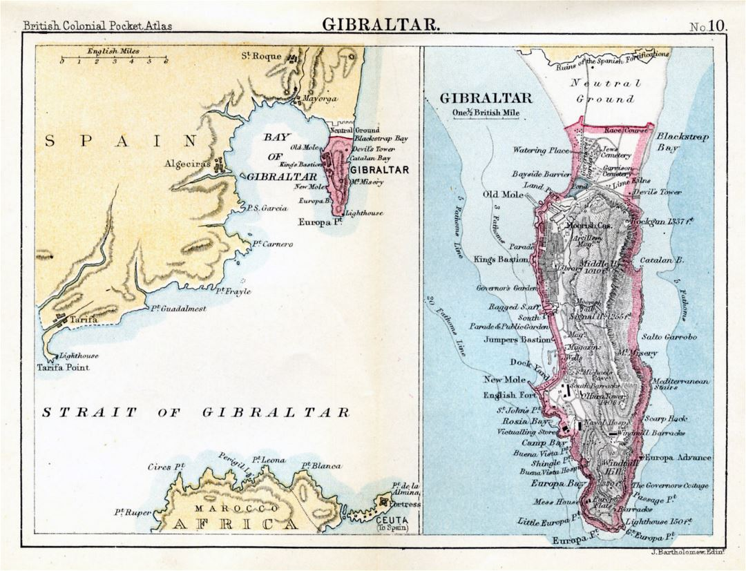 Large old map of Gibraltar with relief