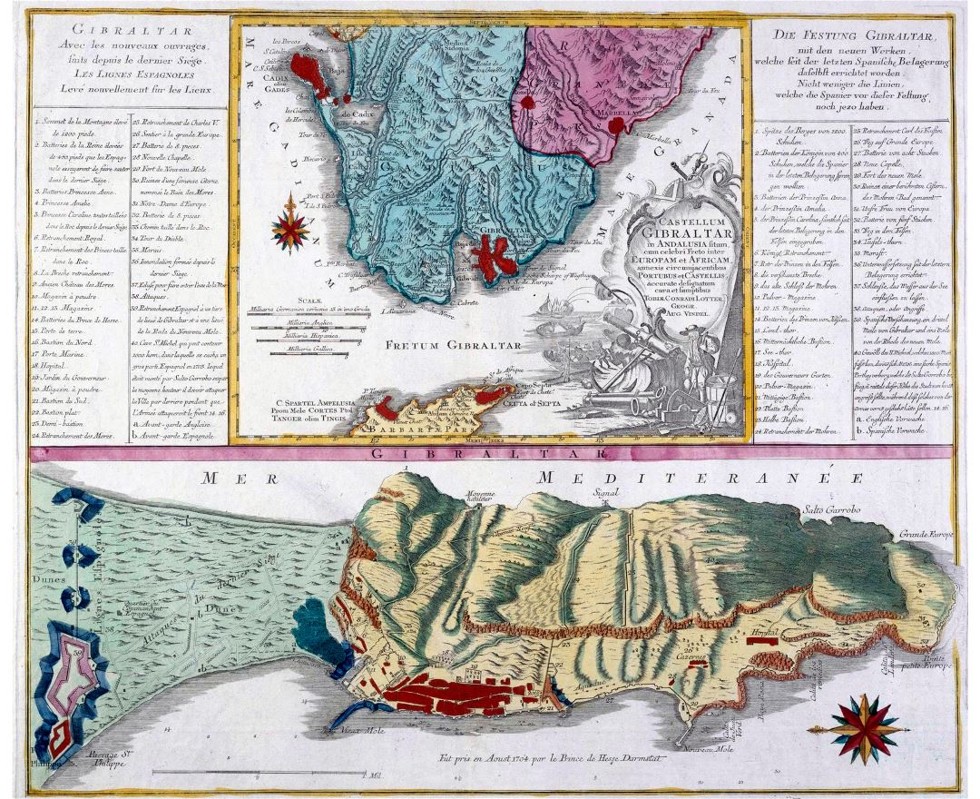 Large old panoramic map of Gibraltar - 1756