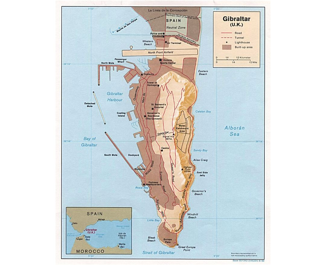 Large political map of Gibraltar with relief - 1989