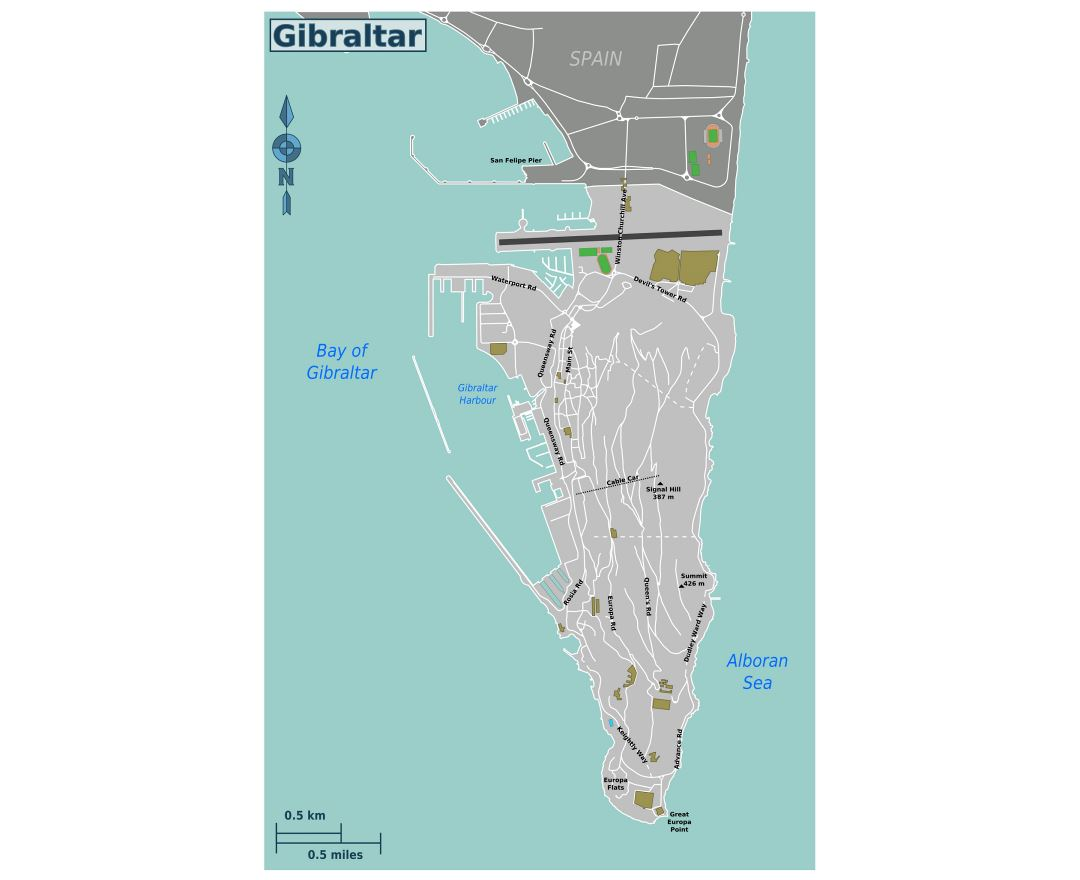 Large road map of Gibraltar